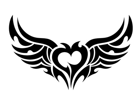 Devilish heart tattoo Иллюстрация