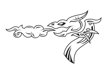 Dragon s head tattoo Vector
