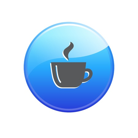 Glossy coffee break button with reflection Vector