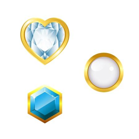 Gems on white backgroud  Illustration