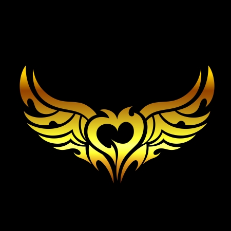 Golden devilish tattoo Vector