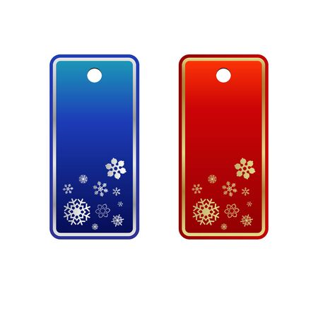 cling: Set of red cristmas tags
