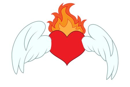 red love heart with flames: Coraz�n con alas Vectores