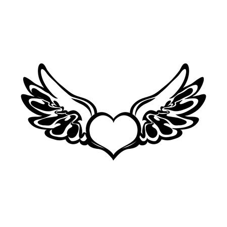 silueta de angel: Coraz�n Vector tatuaje