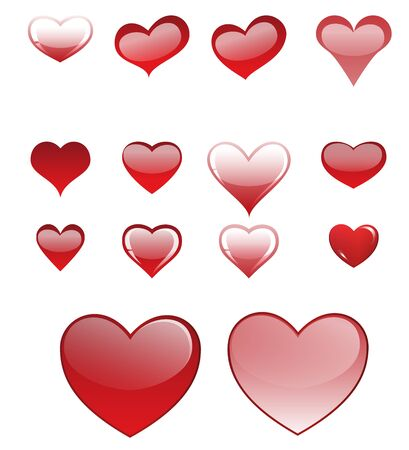 Set of different colored hearts Stock Vector - 17105617