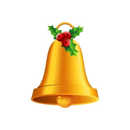 jingle bell: shiny golden Christmas bell Illustration