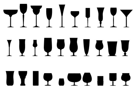 brandy glass: Glass collection - vector silhouette Illustration