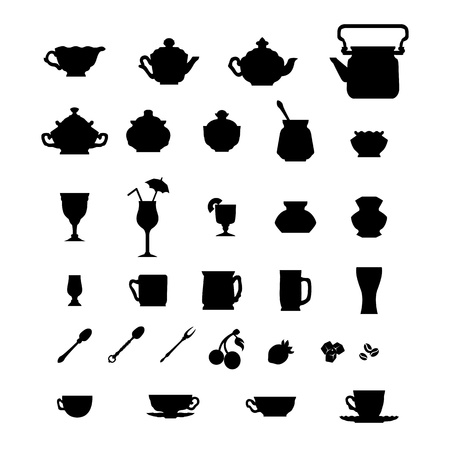 Collection of cups, teapots and other items  Vector