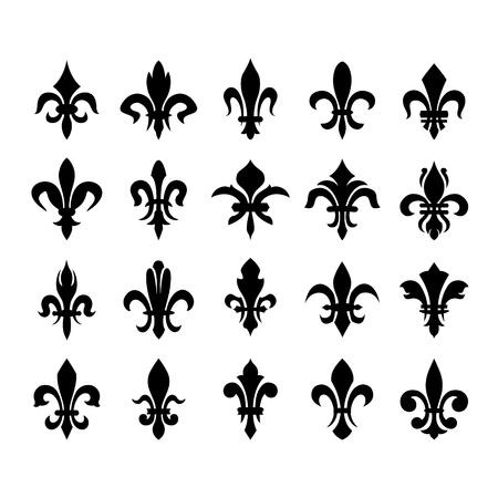 royal french lily symbols: Heraldic symbols  fleur de lis  Illustration