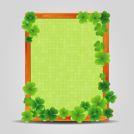 Clover on empty wooden frame  Vector