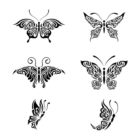 Collection black and white butterflies Stock Vector - 20408782