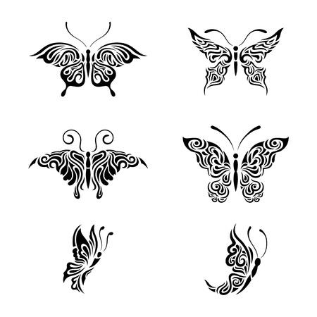 Collezione farfalle bianche e nere Archivio Fotografico - 20408782