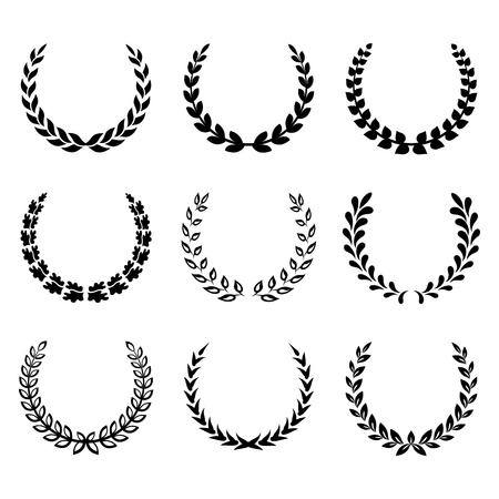 Black laurel wreaths isolated on white background. Vector illustration. Vector