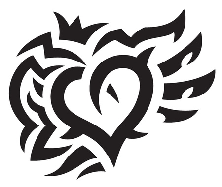 Heart with crown and wings tattoo. Vector illustration.