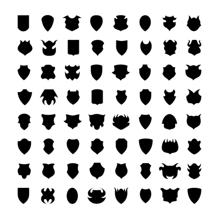 herald: Shield icons or silhouettes isolated on white background. Vector. Illustration