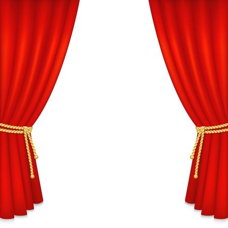現実的な赤いベルベットのカーテンは、白い背景で隔離されました。ベクトル イラスト。