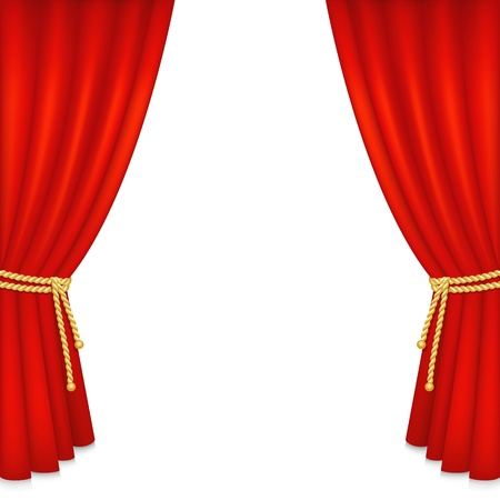 Realistic red velvet curtain isolated on white background. Vector illustration.