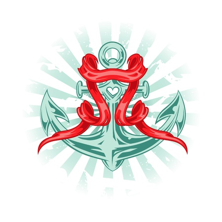 anchored: Vector illustration in tattoo style. Anchor with red ribbon. Illustration
