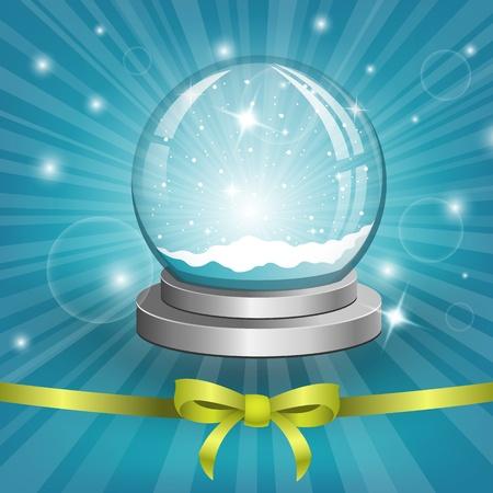 augur: Christmas background with snow globe. Vector Illustration