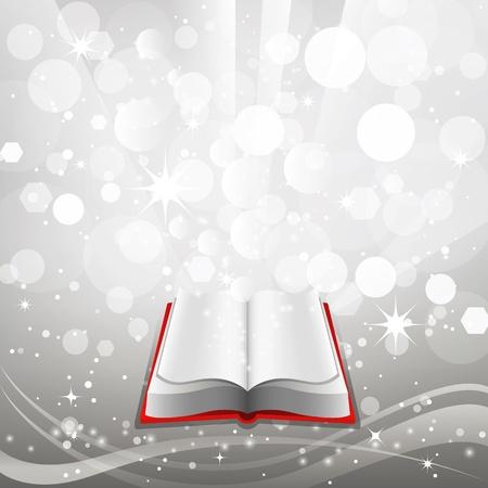 magic book: Open book on a gray background. Vector.