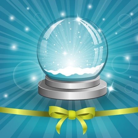Christmas background with snow globe. Vector Vector