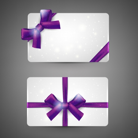 purple ribbon: Gift cards with bows on gray background. Vector. Illustration