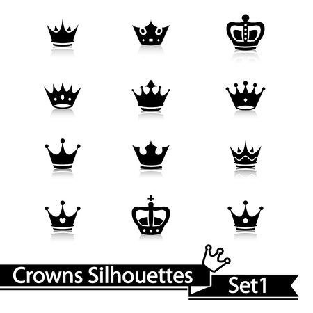 king crown: Crown collection isolated on white background. Vector.