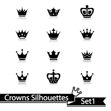 crown silhouette: Raccolta corona isolato su sfondo bianco. Vettore. Vettoriali