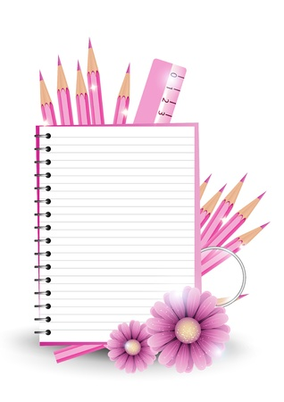 girlish: Girlish back to school background or card. Vector illustration.