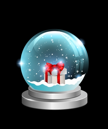 Snow globe with gift box and falling snow inside. Easy to change background. Vector. Vector