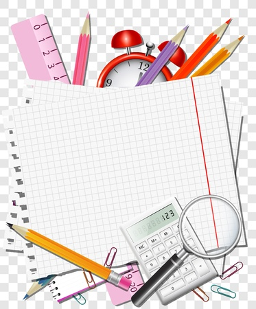 art supplies: Back to school background or card. Vector illustration.