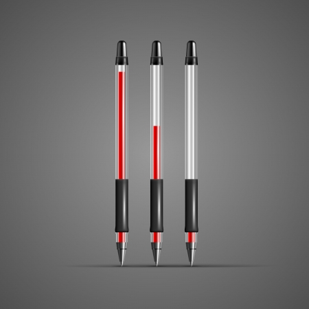 Set of vector transparent red gel pens isolated on dark background. Stock Vector - 20925494