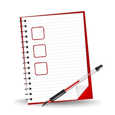 赤いゲルのペンとメモ帳のチェックリストのベクトル イラスト