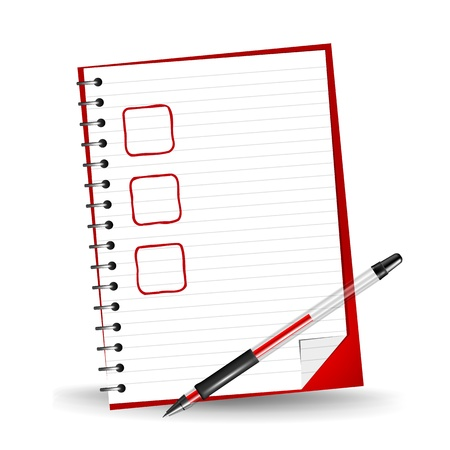 Vector illustration of a checklist on a notepad with a red gel pen Иллюстрация