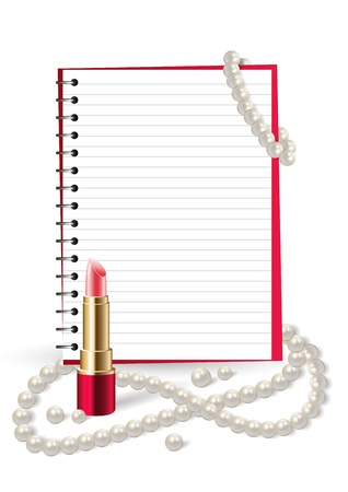 cosmetology: Beauty and fashion background with open notebook, lipstick and pearls. Illustration