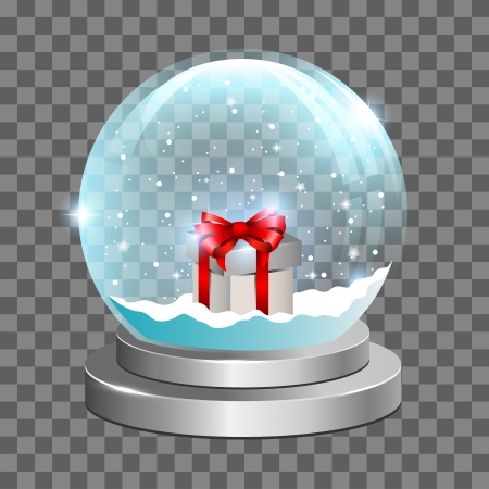 Snow globe with gift box and falling snow inside  Perfect for any background    Illustration