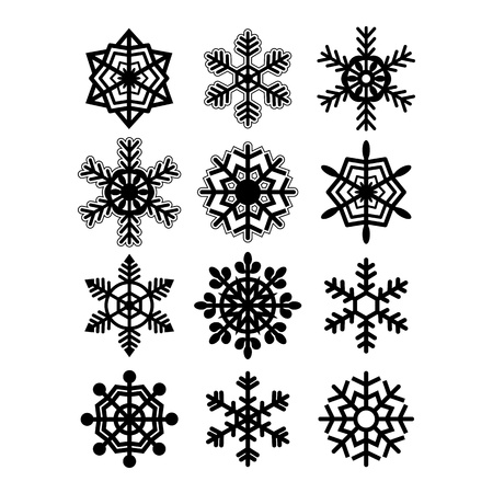 Snowflakes collection isolated on white background. Vector illustration. Stock Vector - 21783116