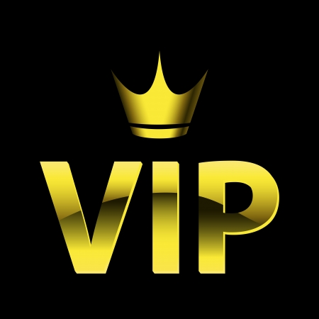 very important person sign: vip design (vip symbol, very important person sign) with crown. Vector illustration isolated on black background.