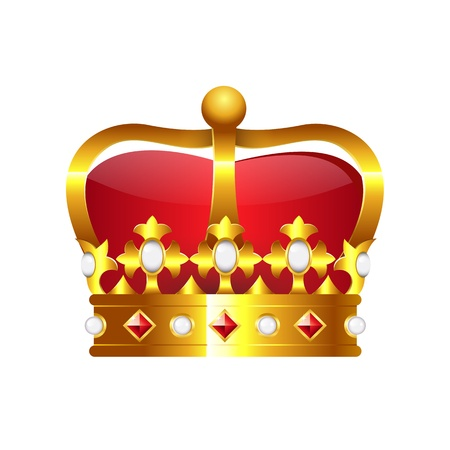 tsar: Realistic golden crown isolated on white background.