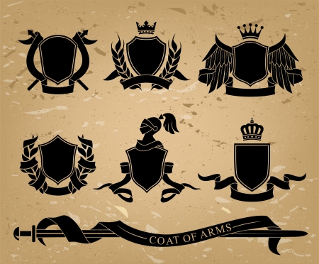 Set of different heraldic black emblems. Vector illustration. Vector