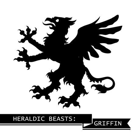 Black Heraldic Griffin. Vector illustration. Illustration