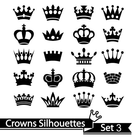 black princess: Crown collection isolated on white background. Vector.