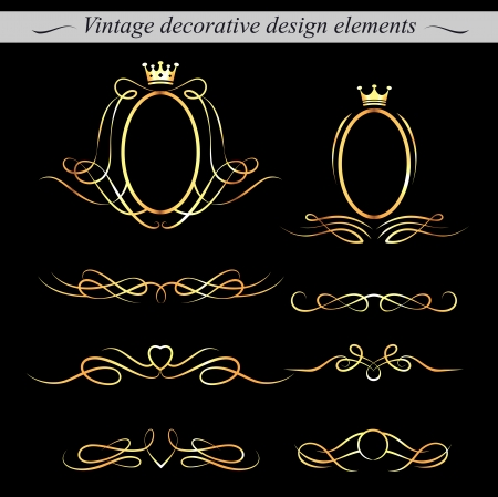 Set of golden decorative design elements. Vector. Vector