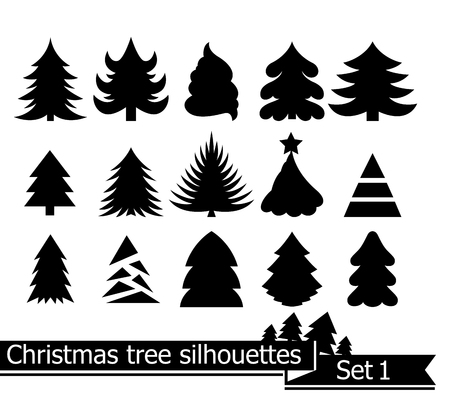 Christmas trees. Vector set of silhouettes isolated on white background. Illustration