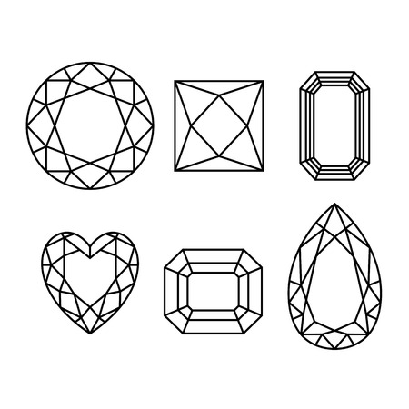 karat: Diamonds wireframe on white background. Vector.