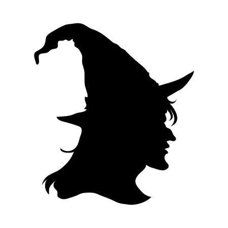 Halloween witch head silhouette