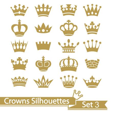 白い背景で隔離の王冠コレクション。ベクトル。