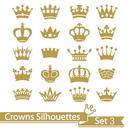imperial: Crown collection isolated on white background. Vector.