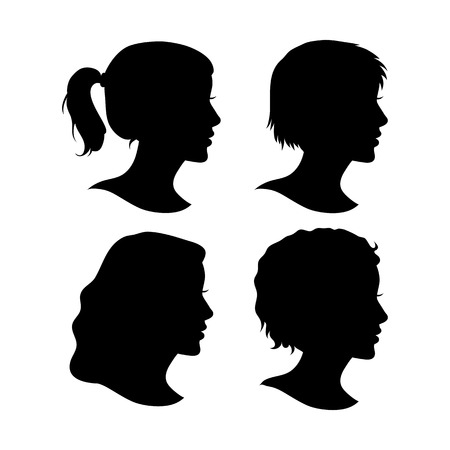 Vector Set of Female Cameo Silhouettes Isolated on White Background