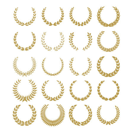 Black laurel wreaths isolated on white backgrounds.